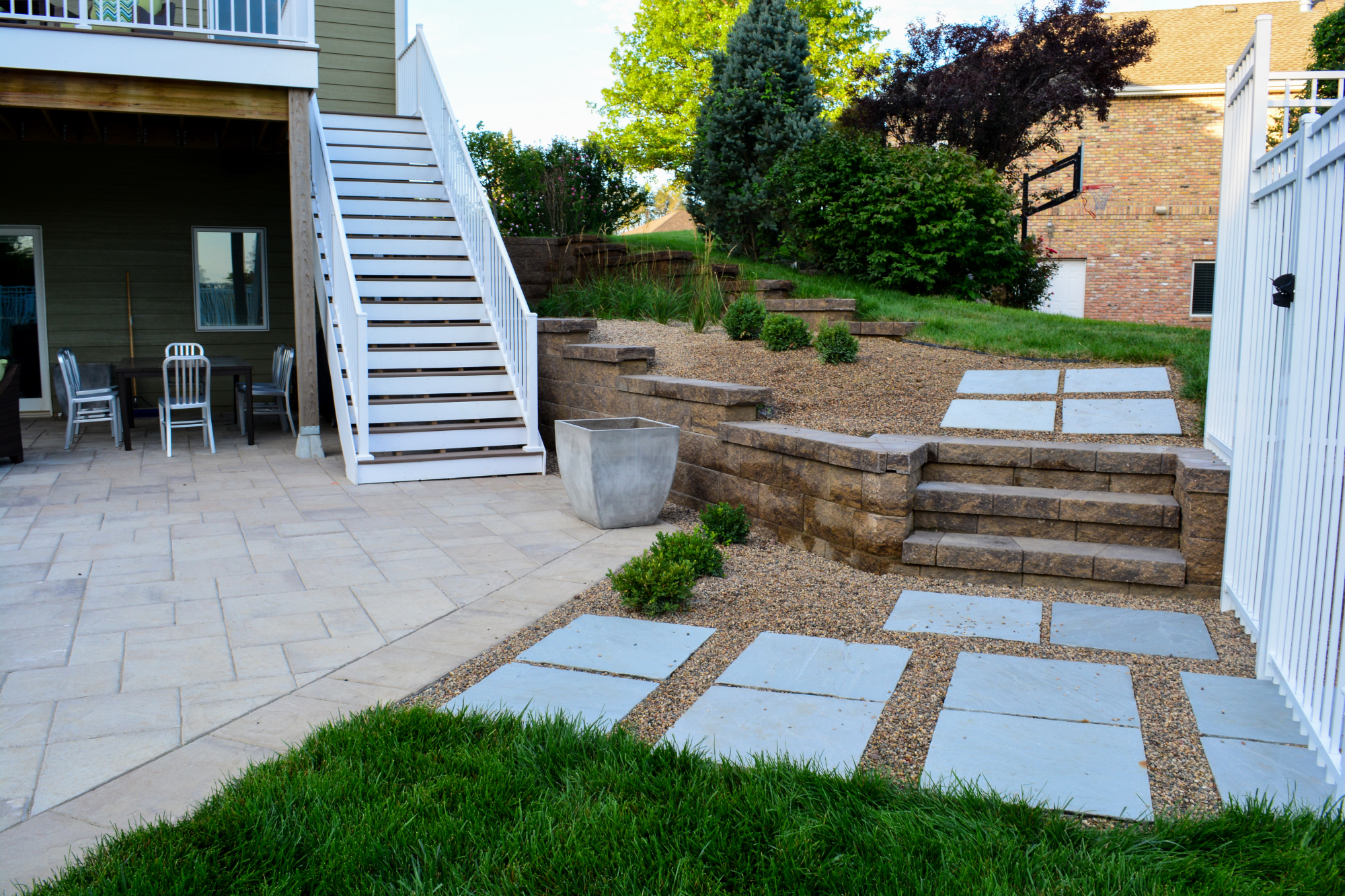 Breaking Ground's modern landscape path to pool.