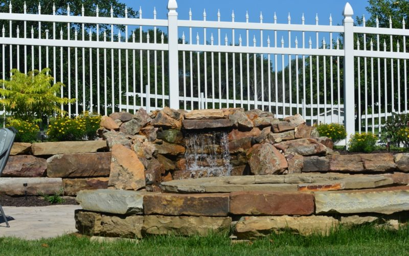 Moss rock ledge stone seat wall