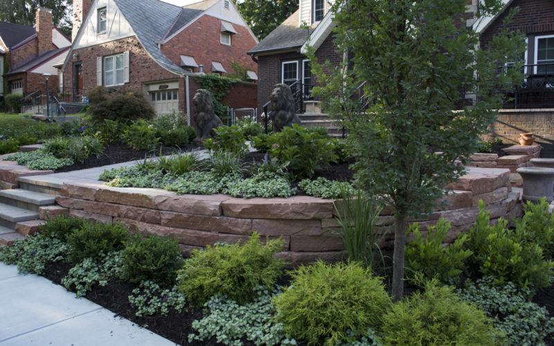 Natural Stone retaining wall and plants 2