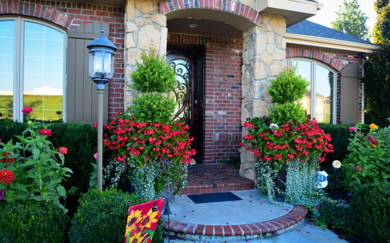 Planters and front door