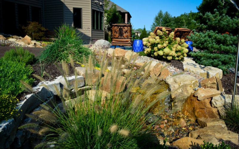 Planting and water feature