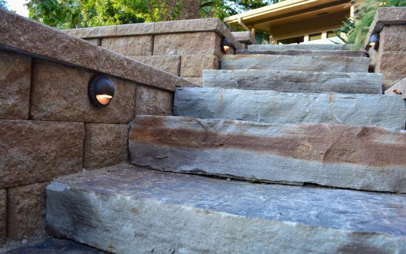 Stone steps and lighting